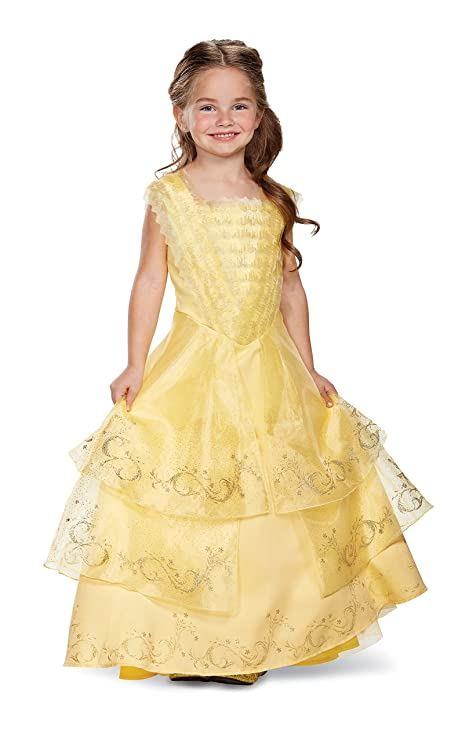 Amazon.com: Disney Belle Ball Gown Prestige Movie Costume, Yellow ...