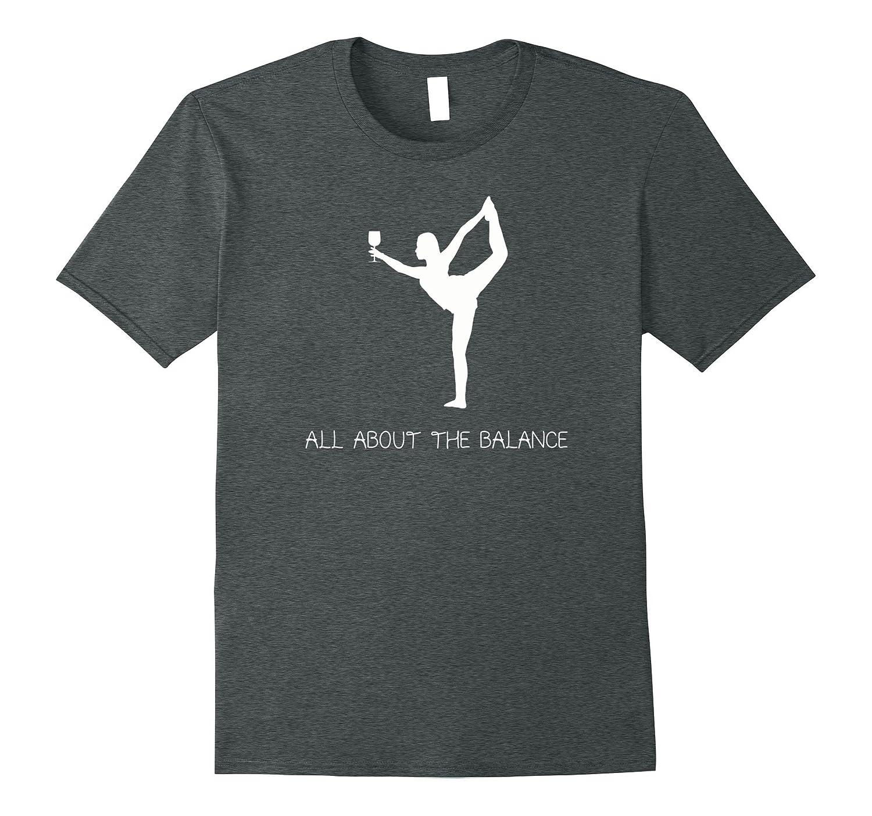 Yoga Wine Balancing T-Shirt - Yogi with Wine Glass Shirt-TH