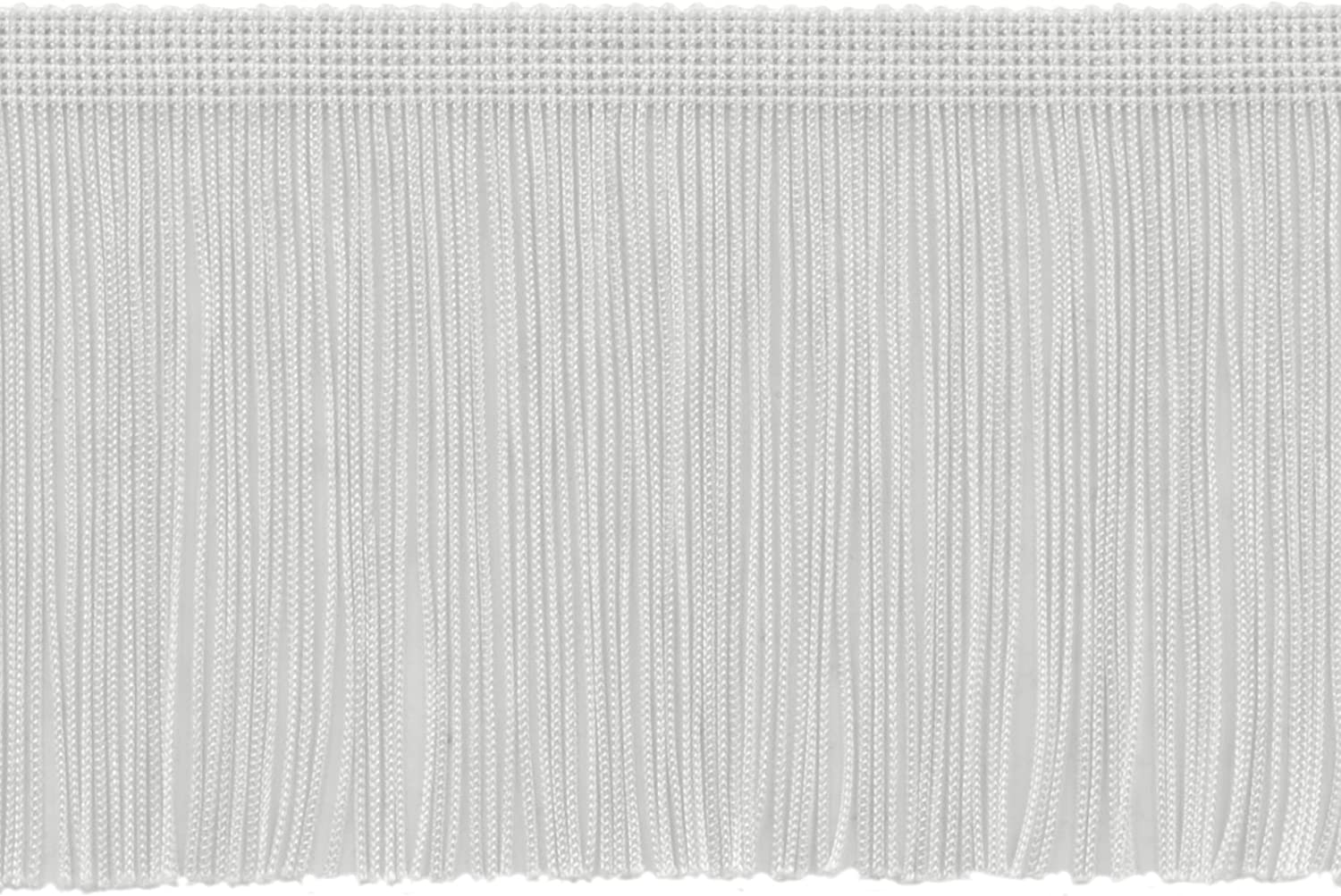 A1 Sold by The Yard Style# CF04 Color: White D/ÉCOPRO 4 Inch Chainette Fringe Trim