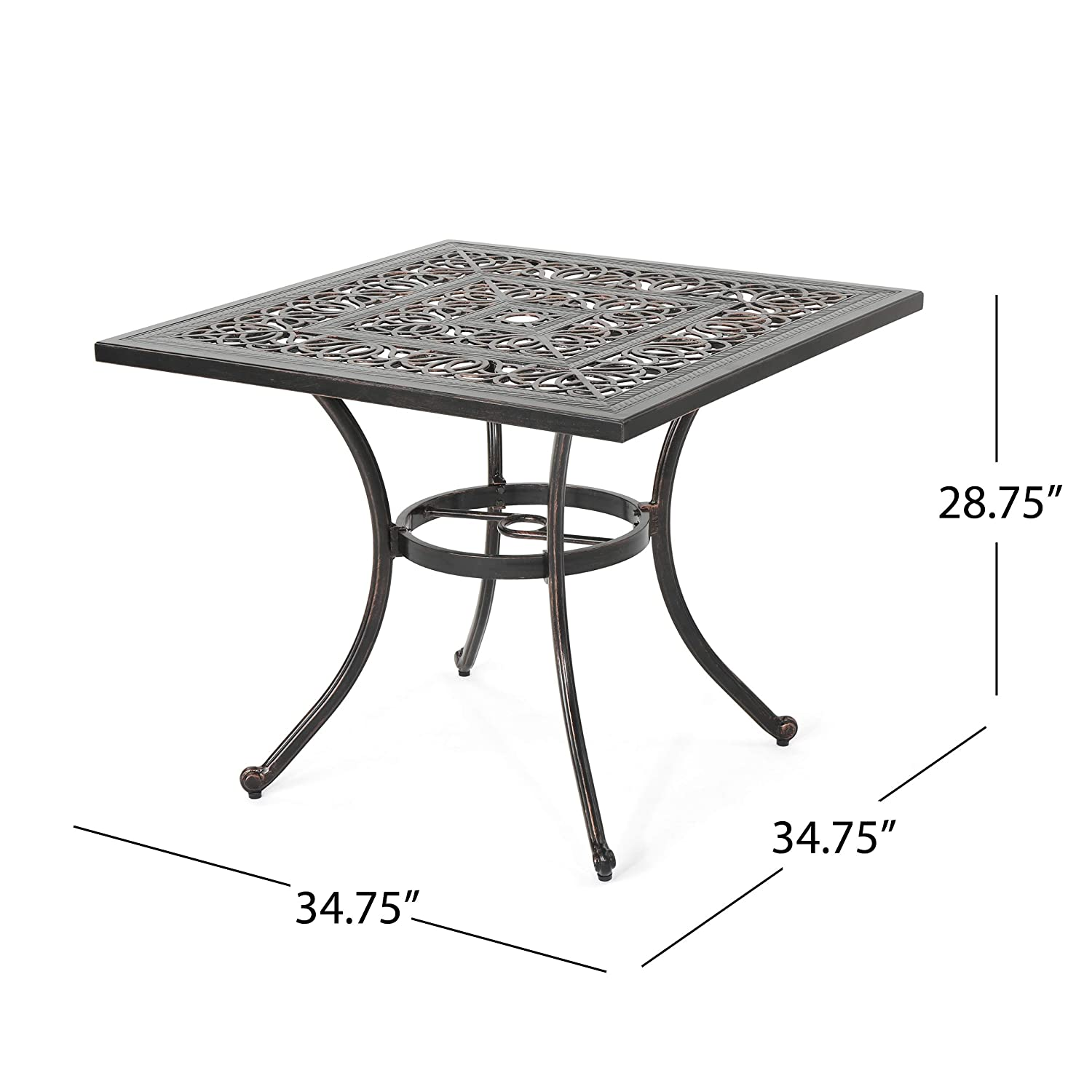 Shiny Copper Christopher Knight Home Jamie Outdoor Square Cast Aluminum Dining Table