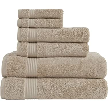 Hotel & Spa Quality Super Absorbent and Soft, Cotton, 6 Piece Turkish Towel Set for Kitchen and Decorative Bathroom Sets Includes 2 Bath Towels 2 Hand Towels 2 Washcloths, Sand Taupe