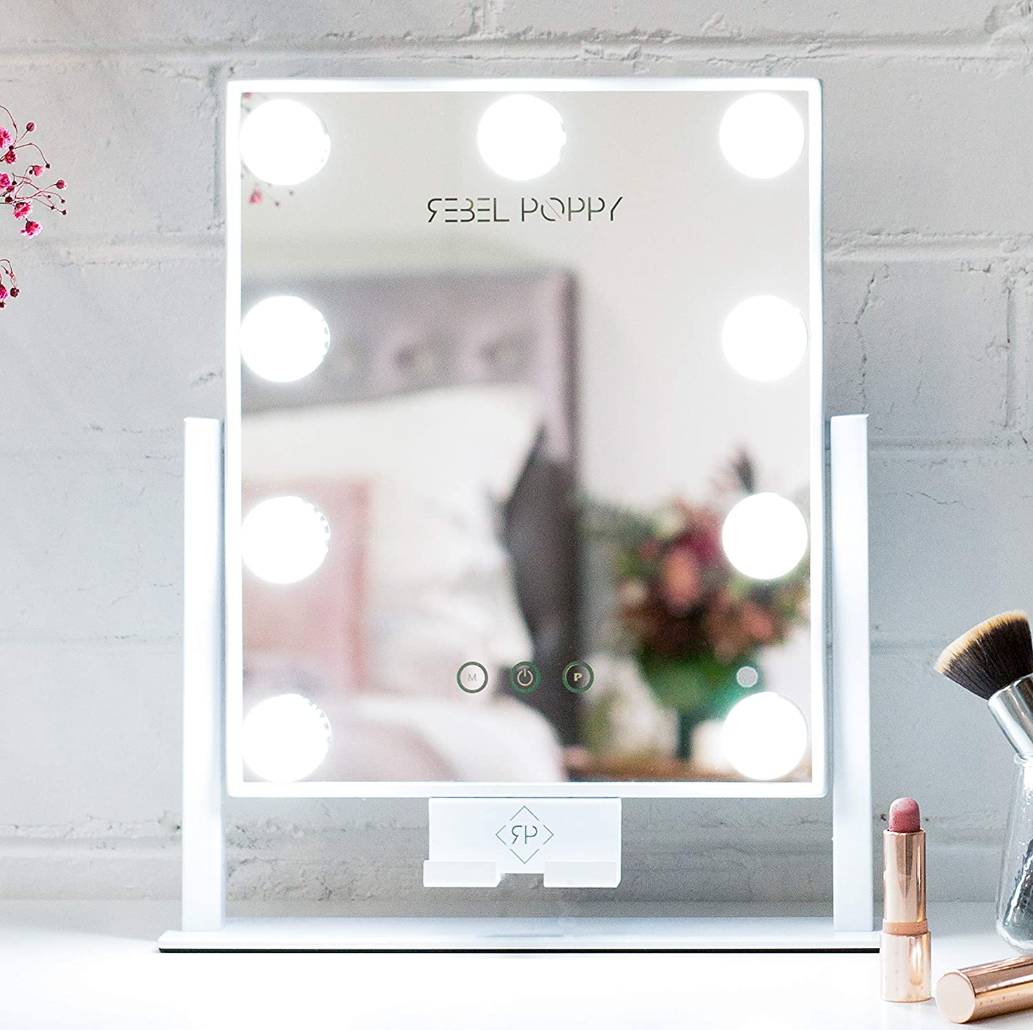 Rebel Poppy Lighted Makeup Mirror – Vanity Mirror with Lights, Phone Holder with 3 Colour Touch Control, Replaceable and Dimmable LED Bulbs, Hollywood Style Vanity Mirror, White