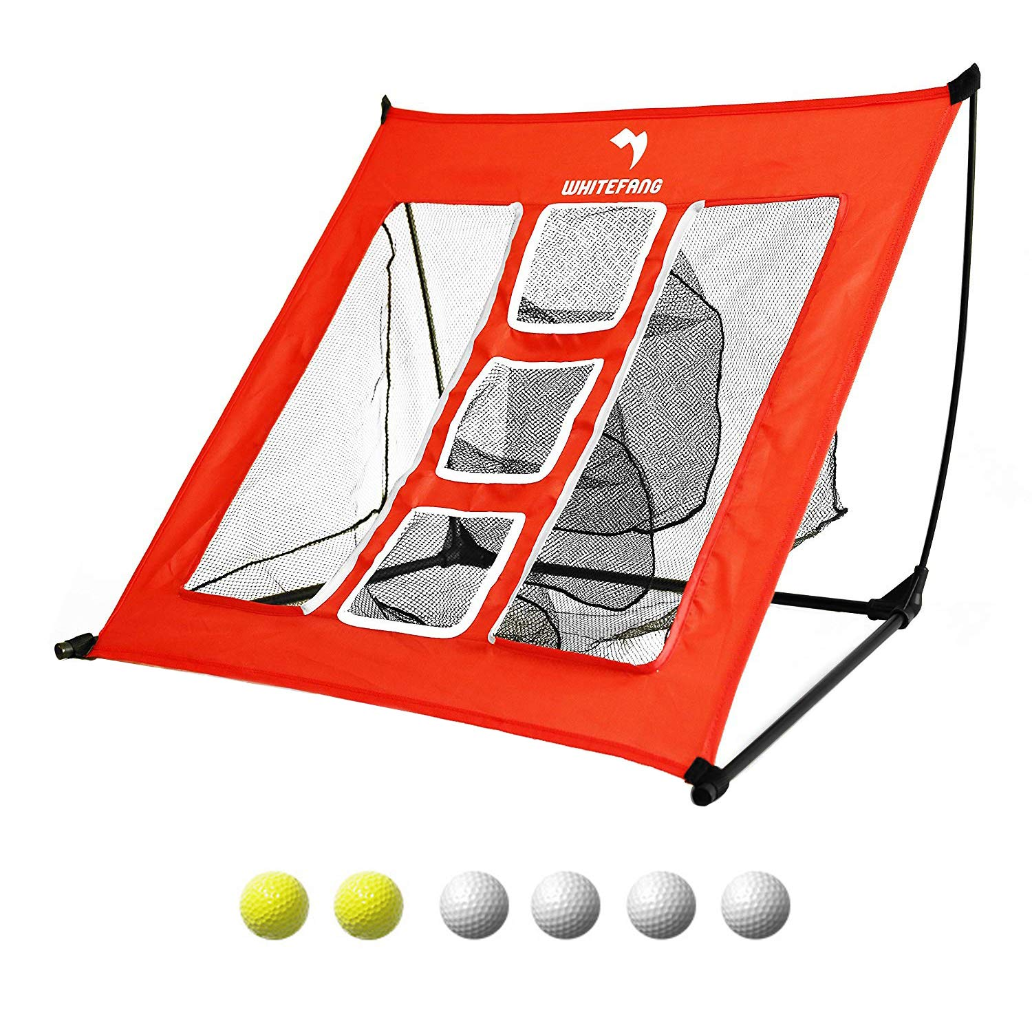WhiteFang Golf Net | 4 in 1 Golf Practice Set 10x7ft Include Golf Chipping Net|Golf Hitting Mat|Golf Balls with Portable Carry Bag for Backyard/Indoor/Outdoor (4 in 1.)