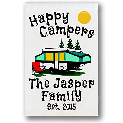 Amazon.com : Happy Campers Pop-up Camper Personalized Campsite White ...