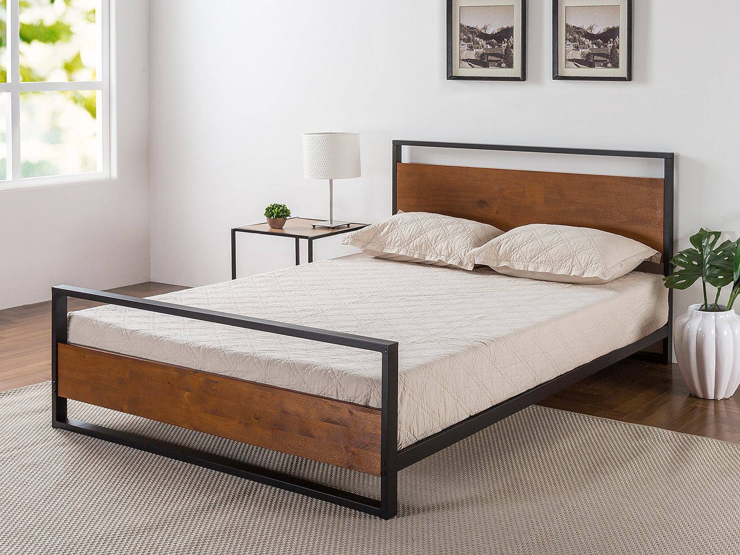 Zinus Ironline Metal and Wood Platform Bed with Headboard and Foot board