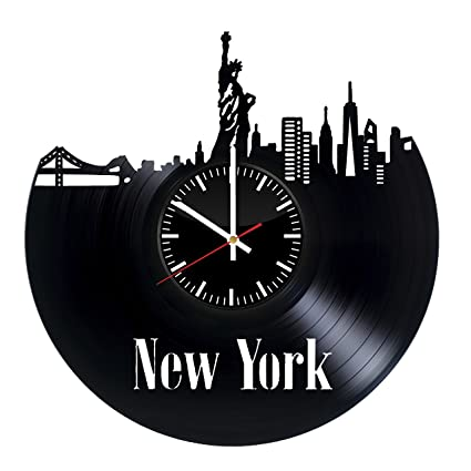 Fun Door New York City Handmade Vinyl Record Wall Clock For Birthday Wedding Anniversary Valentines Mothers