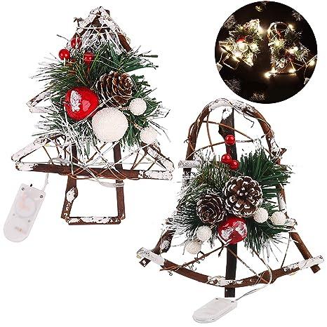 Fascigirl Christmas Pine Corn Rattan DIY Artesanías de Madera Decoraciones de Led para la Ventana de