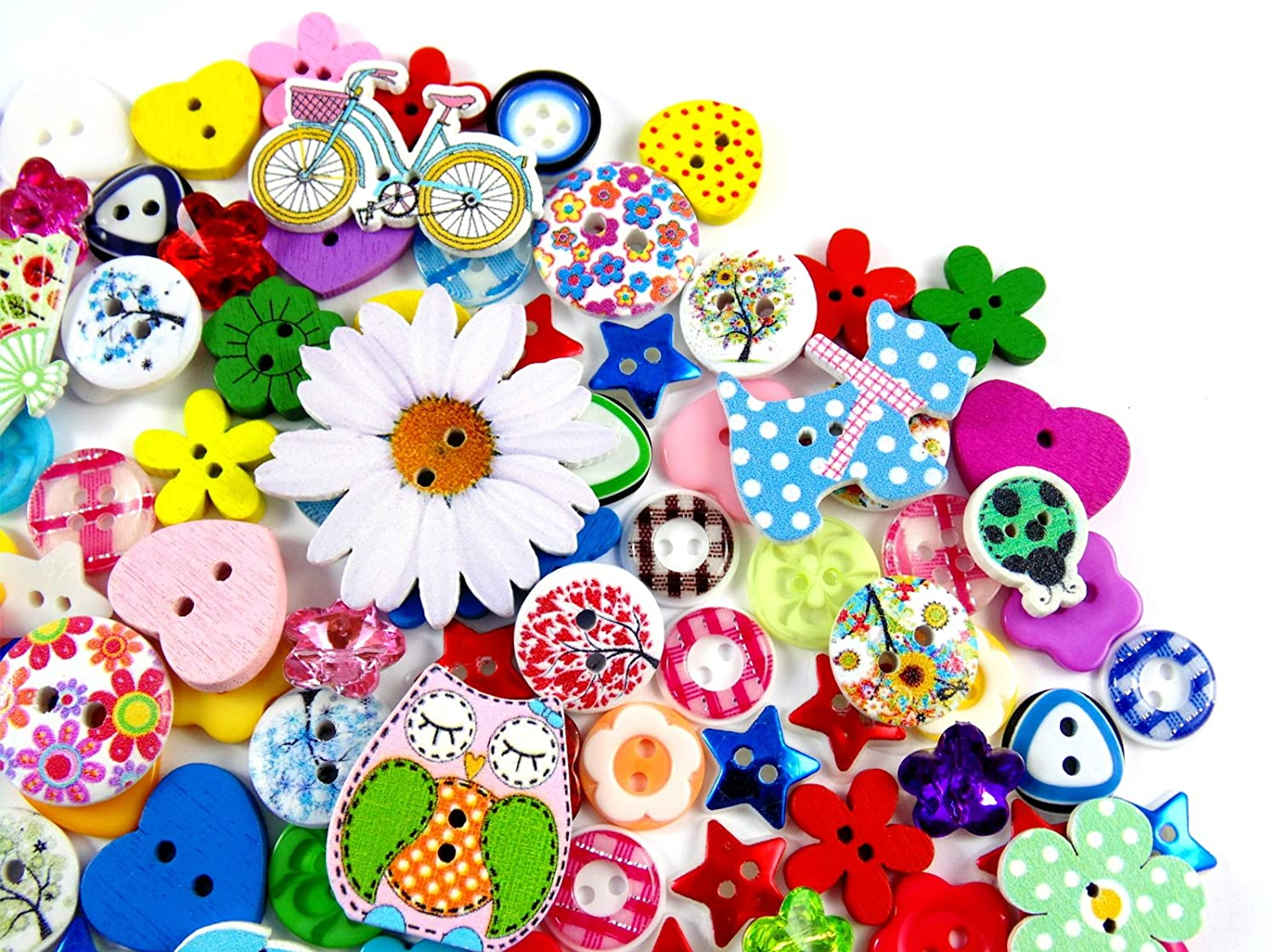 160 x Beautiful Assorted Wooden and Resin Buttons ButtonCraft UK