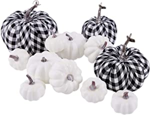 Mimacoo 12PCS Artificial Pumpkins Set,Large White Pumpkins and Cloth Black White Plaid Fabric Pumpkins in Different Sizes for Fall Harvest Festival, Thanksgiving or Halloween Decor Decoration