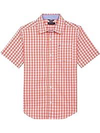 153254bc Nautica Boys' Short Sleeve Gingham Woven Shirt