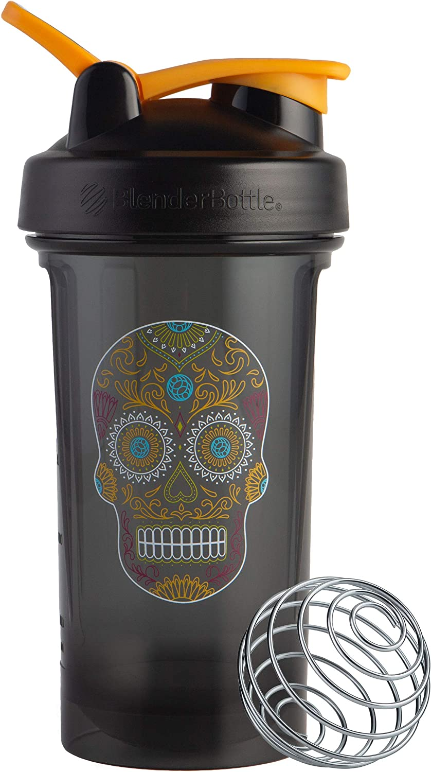 BlenderBottle Sugar Skull Pro Series 24-Ounce Shaker Bottle, Black/Colorful