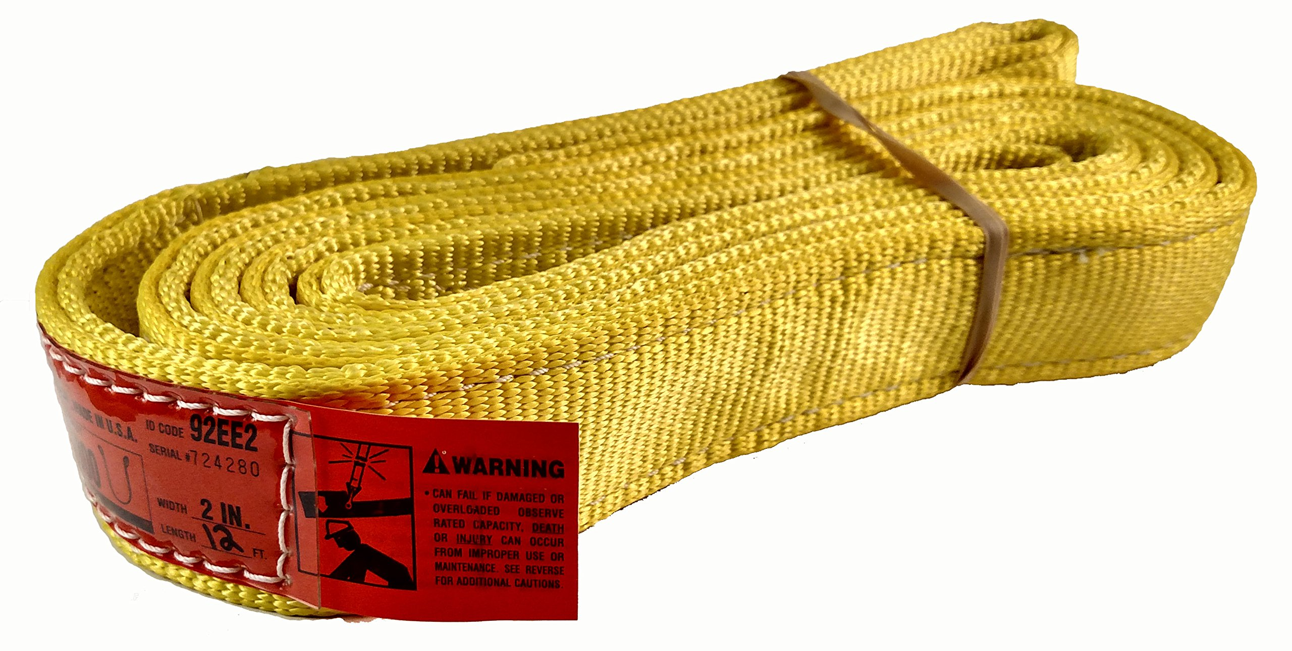 DD Sling (USA Made). 2'' wide X (4' to 20' lengths) in Listing! 2 Ply Twisted Eye, Nylon Lifting Slings, Eye & Eye, Heavy Duty (900 webbing), 6,400 lbs Vertical, 5,100 Choker, 12,800 Basket Load Capacity (2inX12ft)