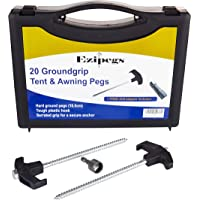Tent Awning Annex Screw in Hard Ground Steel Pegs 20 Pack with Free Drill Adaptor and Carry Case