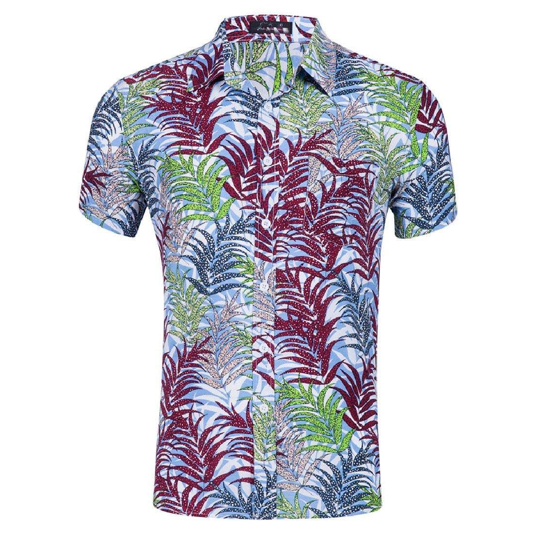 Zimaes-Men Lapel Button Down Short-Sleeve Printed Work Shirt