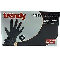 MC-Trend TPE wegwerphandschoenen, zwart, poedervrij, latexvrij, in dispenserdoos, 100 stuks