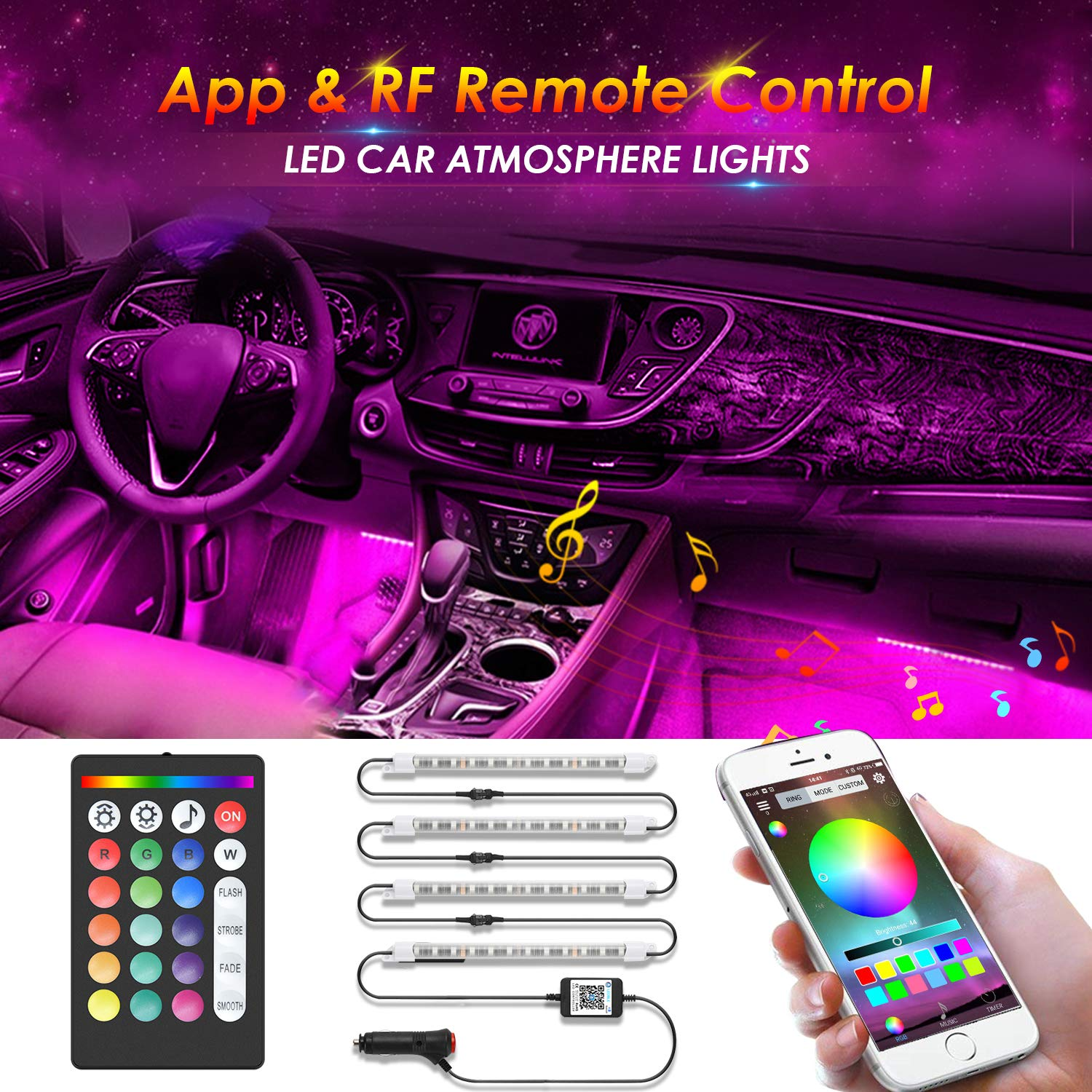 CARANTEE [Upgraded] Car LED Strip Light 4pcs 48 LED Bluetooth App Control Multicolor Music Car Interior Lights, Sound Active Function, Waterproof, Multi-Mode Change(DC 12V)