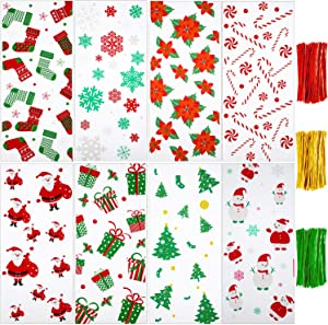 200 Pieces Christmas Cellophane Bags Christmas Cello Treat Bags Candy Bags Cookies Goody Bags with 300 Pieces Twist Ties for Theme Party Supplies, 8 Styles