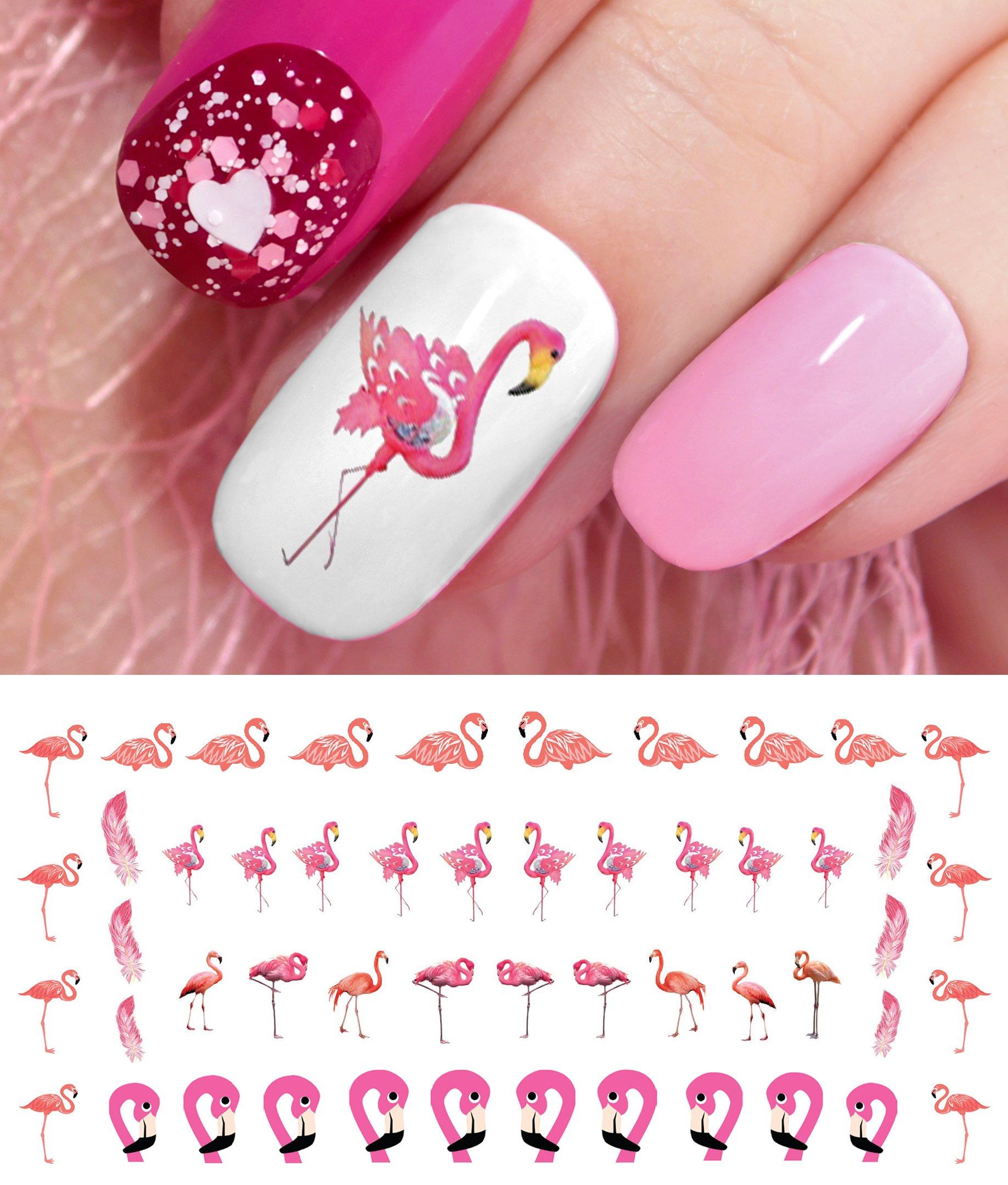 Amazon.com : Pink Flamingo Nail Art Decals : Beauty