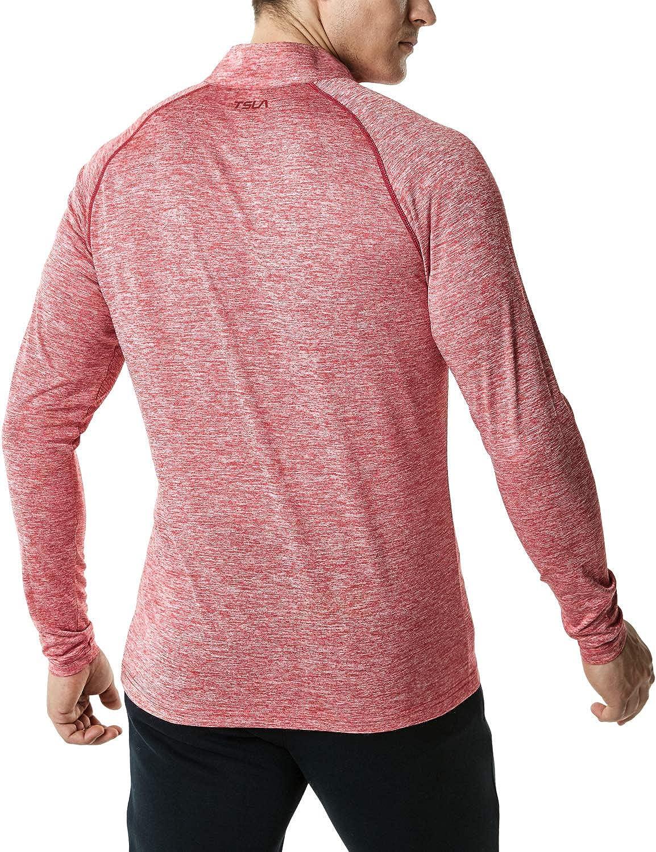 Quick Dry Performance Running Top Athletic Quarter T-Shirt TSLA Mens 1//4 Zip Pullover Long Sleeve Shirt