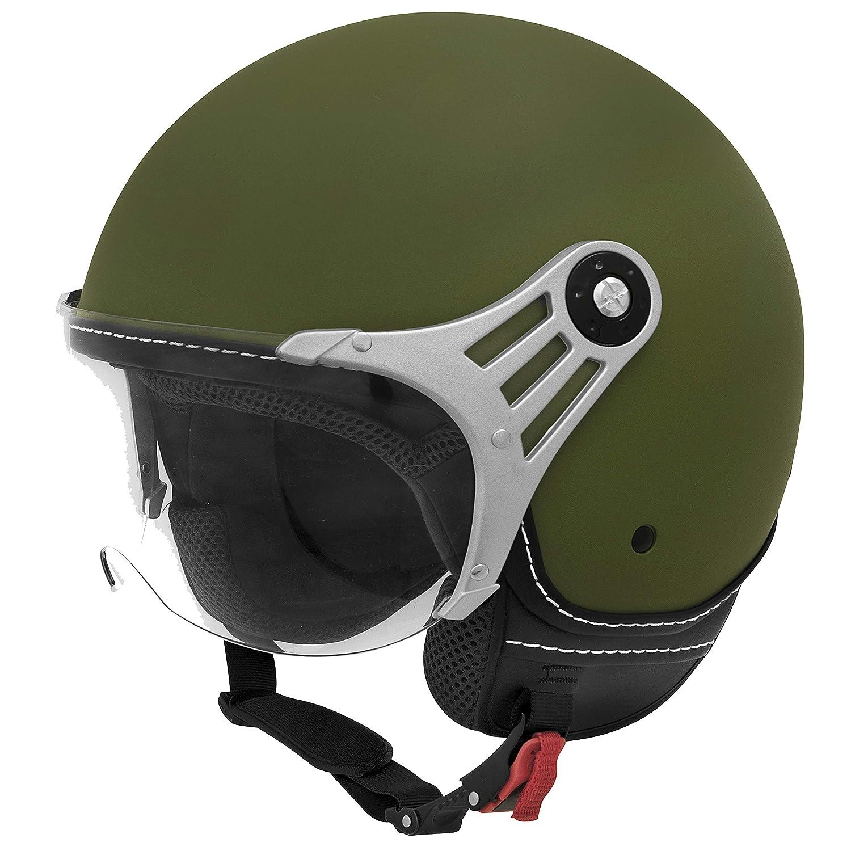 Jethelm Motorrad In Gr XS-M Vinz Jethelm Rollerhelm L, Army Gr/ün ECE zertifiziert