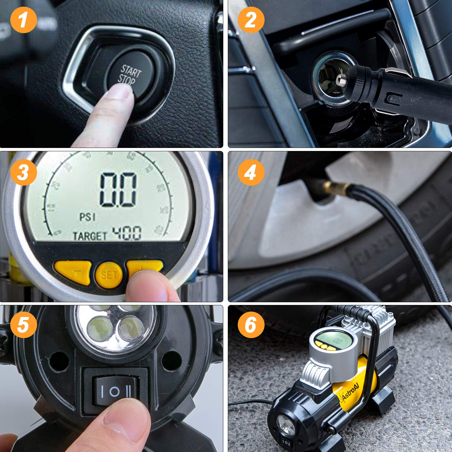 Air Compressor AstroAI Digital Car Air Pump 100 PSI 12V Electric Portable Digital Tire Inflator with Extra Nozzle Adaptors and Fuse for Car Bike Tires and Other Automobiles