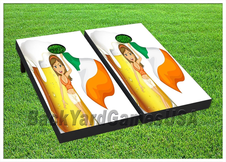 ビニールラップCornholeボードデカールIrish Beer女性バッグToss Gameステッカー424 B077QZSZFD