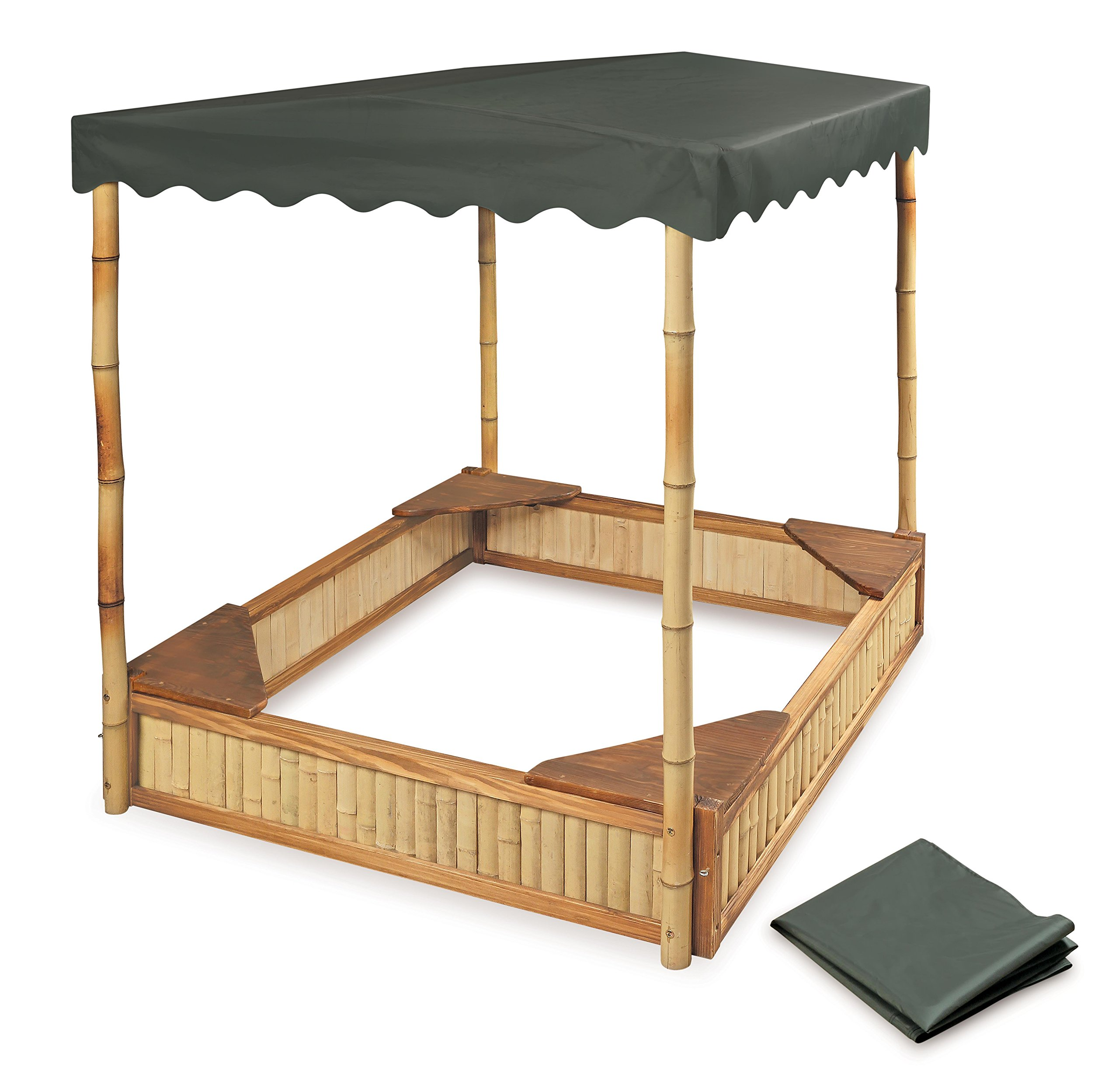 Badger Basket Tropical Fun Square Bamboo/Wood Outdoor Sandbox with Fabric Canopy/Cover and Seats, Natural/Green by Badger Basket (Image #4)
