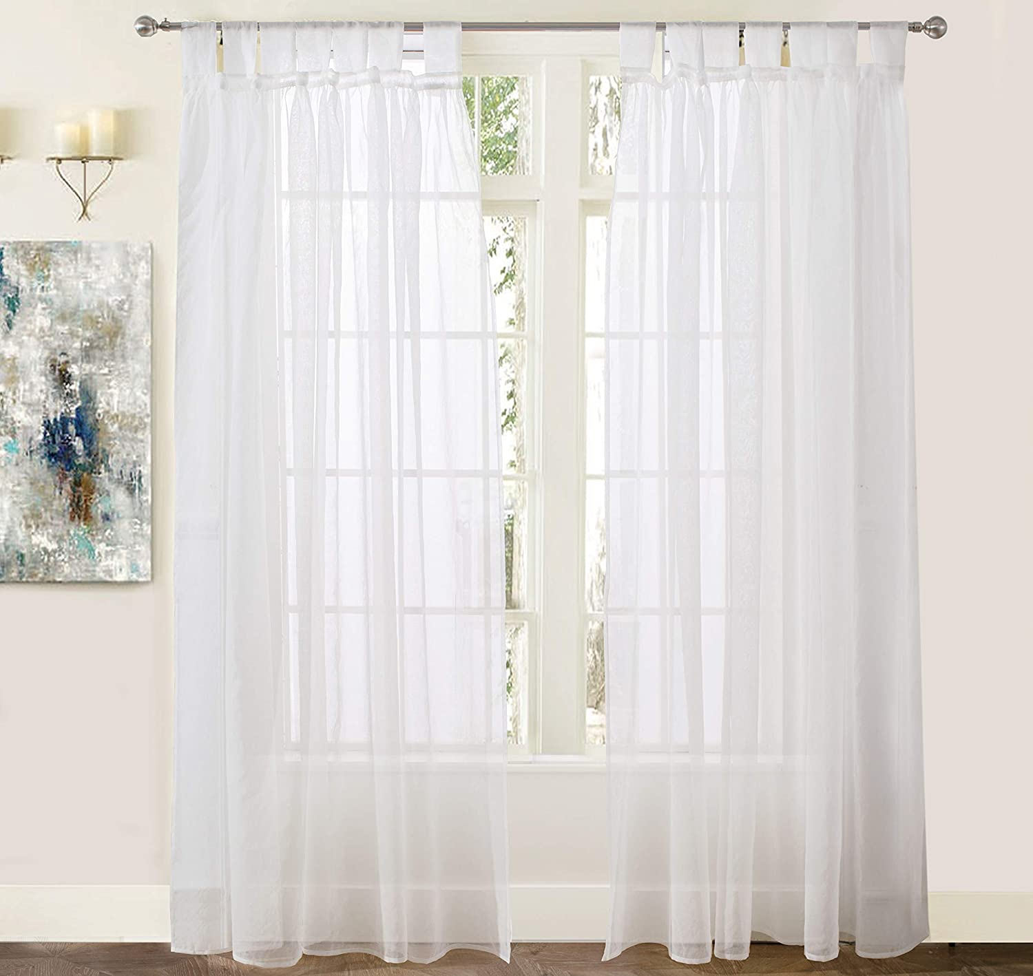 """DriftAway Vintage Ruffle White Solid Sheer Curtain, Faux Linen Texture, Tab Top Window Voile Panel for Bedroom, Living Room, Kids Room, Set of Two Panels, Each 50""""x84"""" (Off White)"""