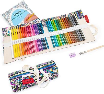 Lápices de colores en estuche enrollable de tela, libro de colorear, 36 lápices, basado en aceite, no tóxico, núcleo suave de 3,5 mm, estuche, sacapuntas, accesorio de extensión (Ethno): Amazon.es: Oficina y