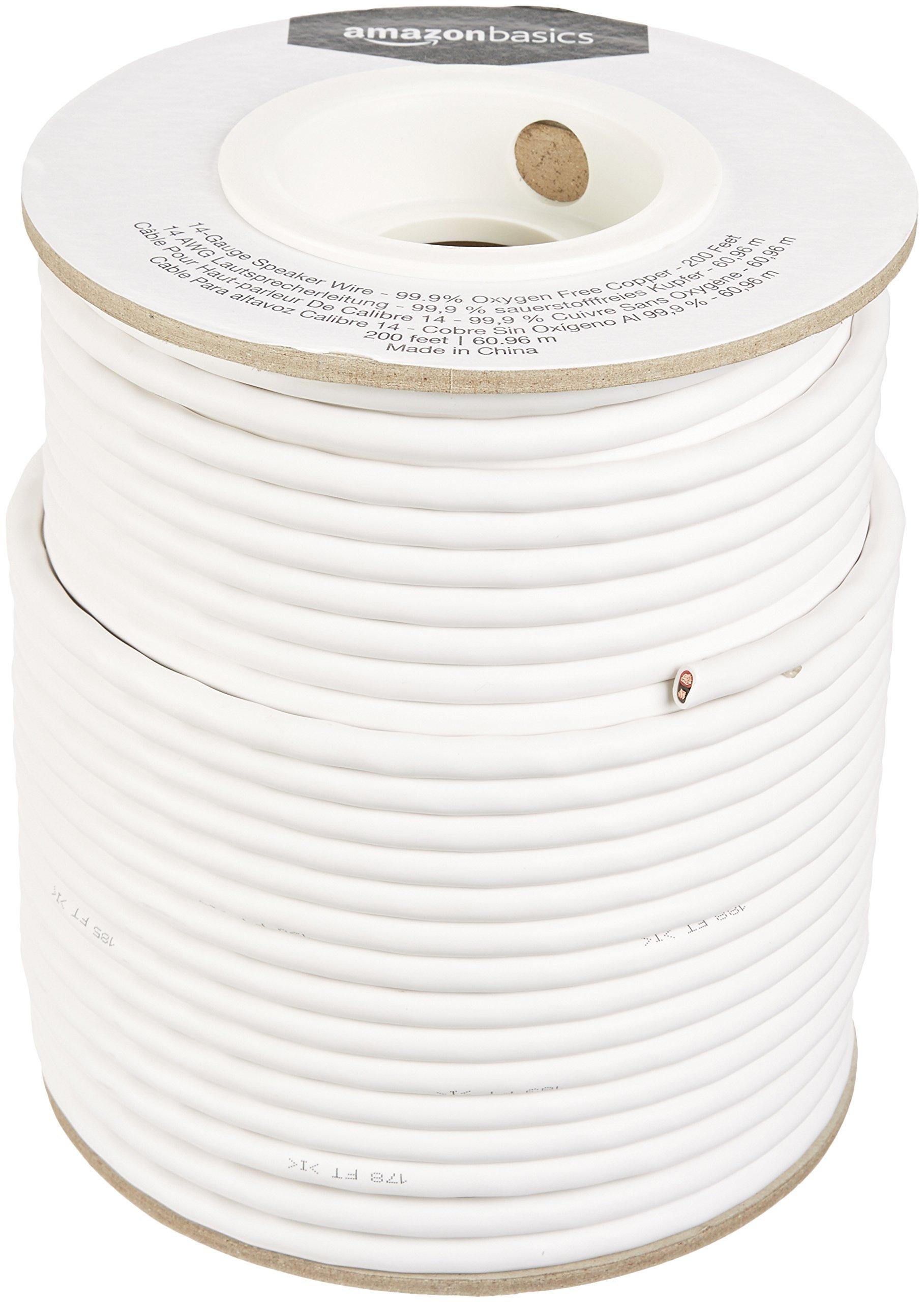 AmazonBasics Speaker Wire - 14-Gauge, 99.9% Oxygen-Free Copper, 200 Feet