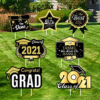 Larchio 2021 Graduation Yard Signs with Stakes, 7pcs Graduation Lawn Signs Waterproof Outdoor Congrats Graduation Party Decoration Supplies