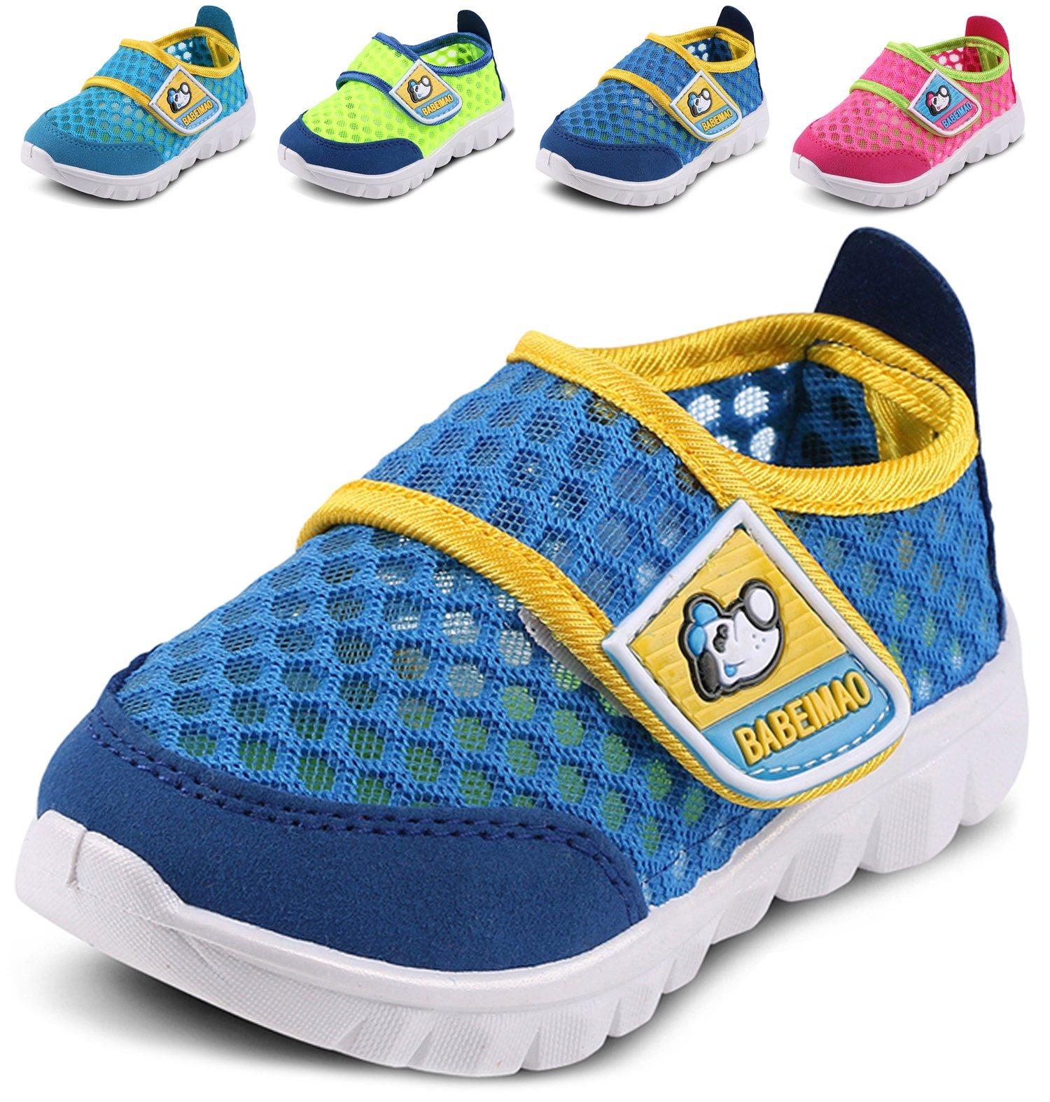 LONSOEN Kid Mesh Sneakers Athletic Hook-and-Loop Light Weight Running Shoes(Toddler/Little Kid),Royal Blue,KFL002 CN33