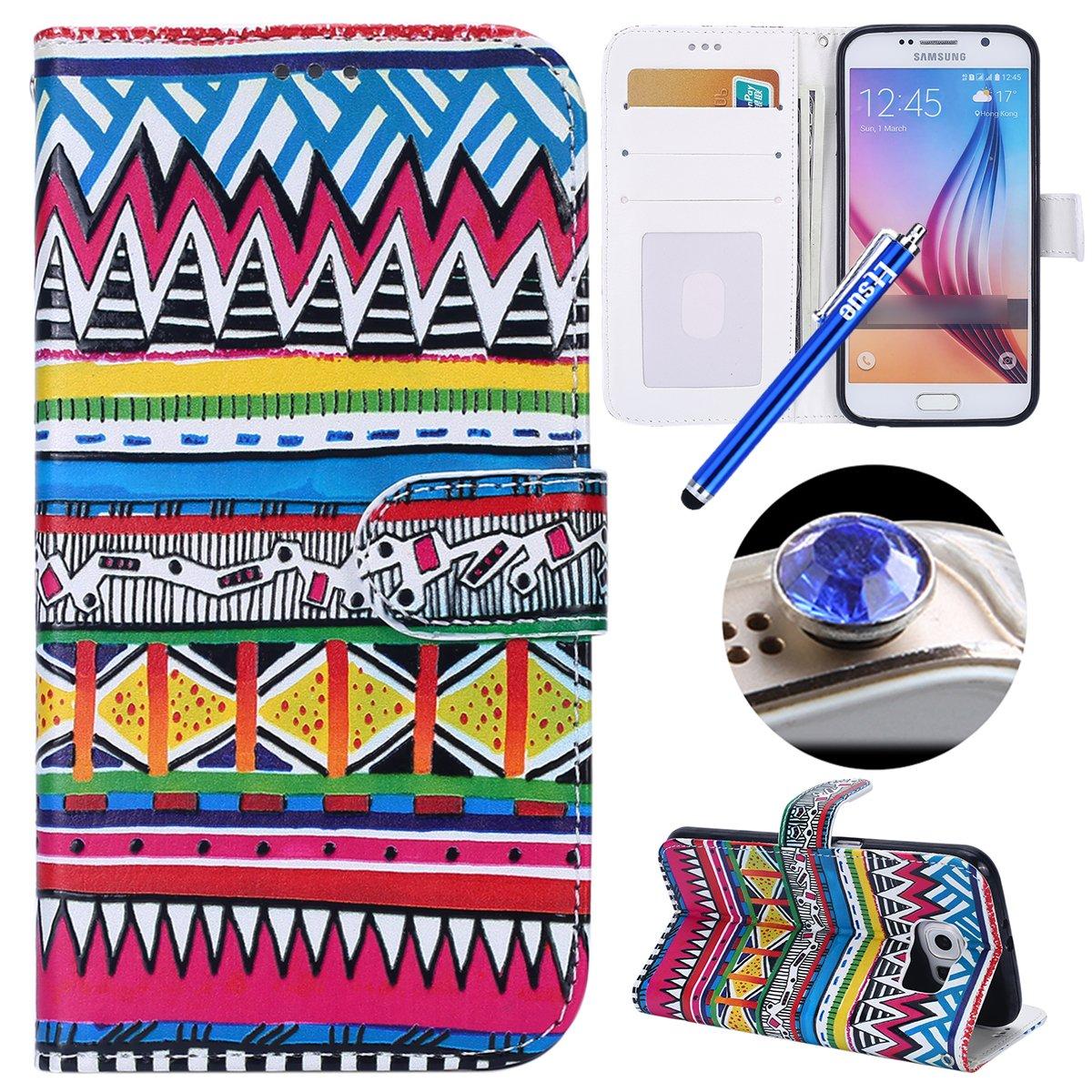 Etsue Handyhülle Lederhülle für Samsung Galaxy S6 Tasche Leder Flip Case Brieftasche Ledertasche Handyhülle Leder Flip Hülle Schutzhülle Handytasche Hülle, Samsung Galaxy S6 Bunte Vintage Elegant Blumen Muster Malerei PU