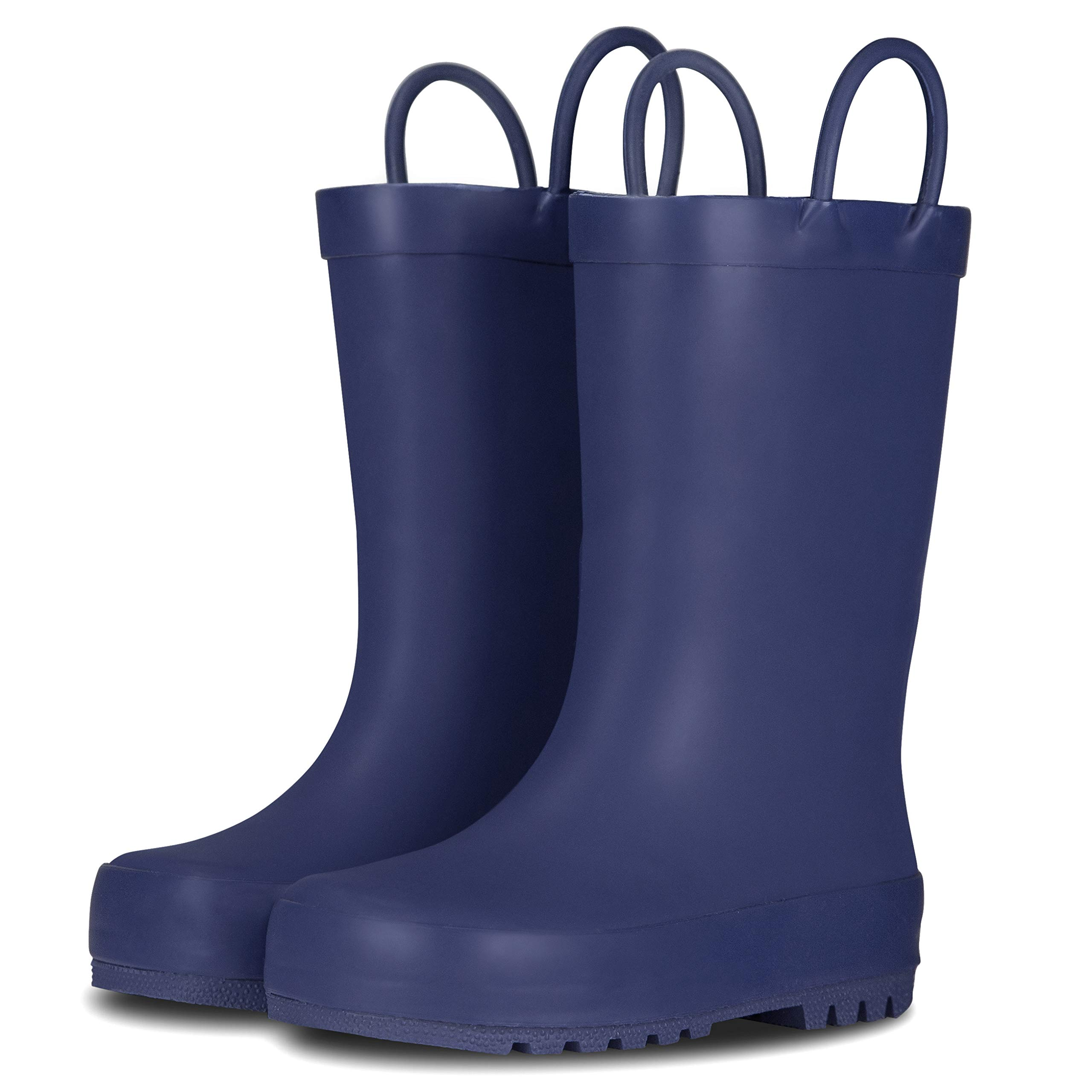 LONECONE Elementary Collection - Matte Rain Boots with Easy-On Handles for Toddlers and Kids, Ribbon Blue, Big Kid 4 by LONECONE (Image #1)