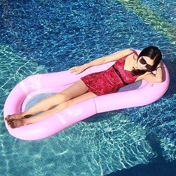 Myir Hamaca Flotante para Piscina, Cama de Agua Flotador de Malla Tumbona Inflable del Agua Hinchable Colchón de Aire Adultos (Hamaca Flotante Rosa)