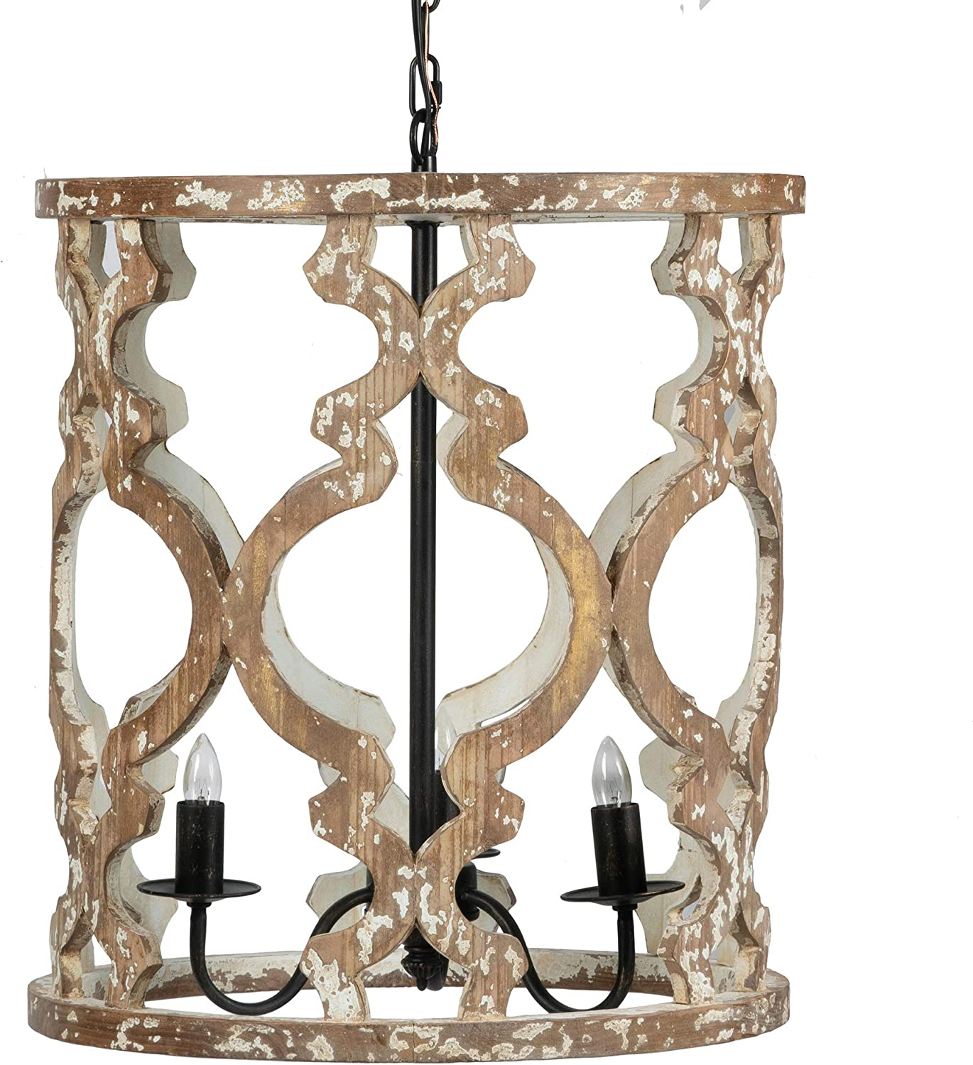 A&B Home Whitewashed Wood and Black Iron Chandeliers, Pendant, Multi