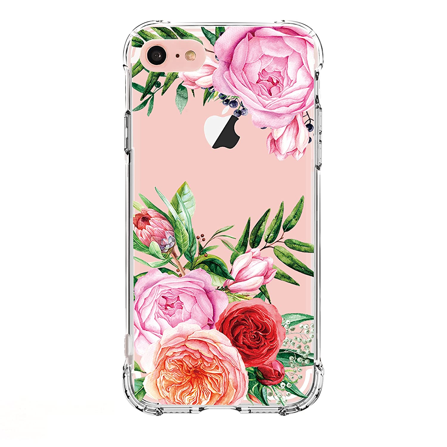 LUOLNH iPhone 6 6S Case, Slim Shockproof Clear Floral Pattern Soft Flexible TPU Back Cover [4.7 inch] - 4 Color Pineapple