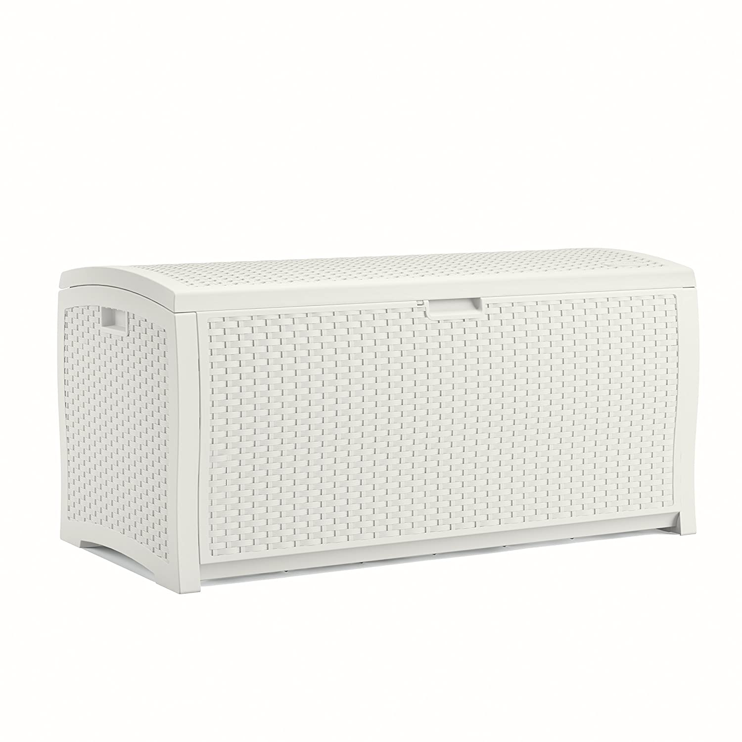 Suncast DB9200WD White Wicker Resin Deck Box, 99 Gallon