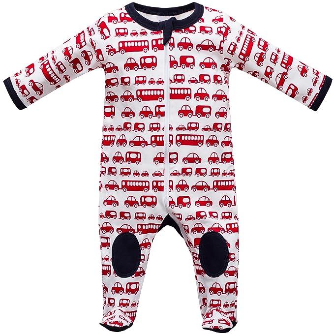 Baby Pelele Pijama Con Patas tamaño 0 - 24 Meses coches blanco, rojo Talla única: Amazon.es: Ropa y accesorios