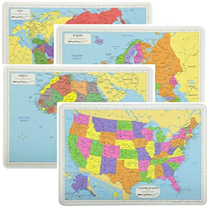 Map Of Africa Asia And Europe.Painless Learning Educational Placemats Sets Usa Africa Asia And Europe Maps Non Slip Washable