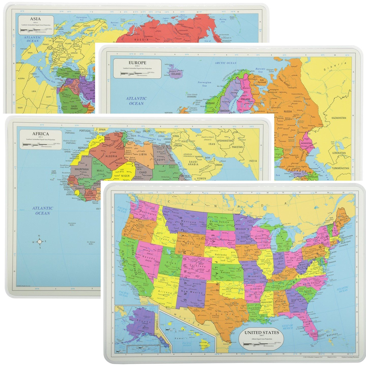 Painless Learning Educational Placemats Sets USA Africa Asia and Europe Maps Non Slip Washable