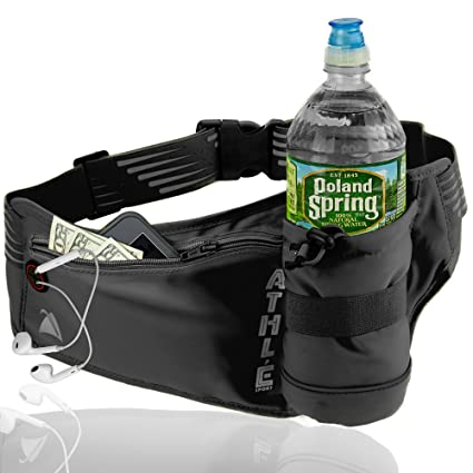 Athlé Running Fanny Pack with Water Bottle Holder - Adjustable Run Belt  Storage Pouch with Zipper Pocket for Sports and Travel – 360° Reflective  Band – Fits ... 4c4ac329bb131