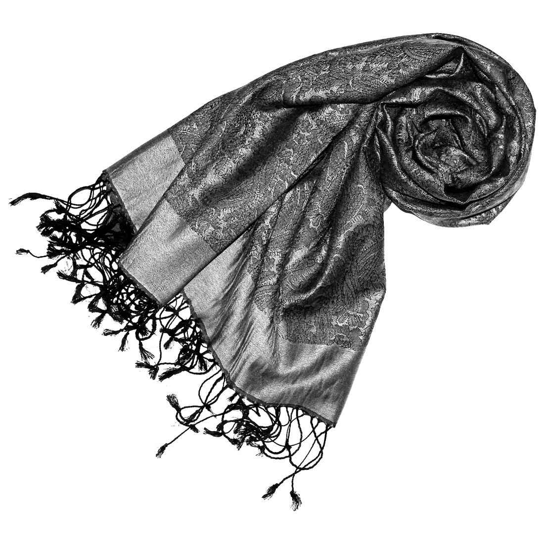 LORENZO CANA Mens Luxury Silk Scarf Pashmina 29 x 75 in Grey Paisley 7805811