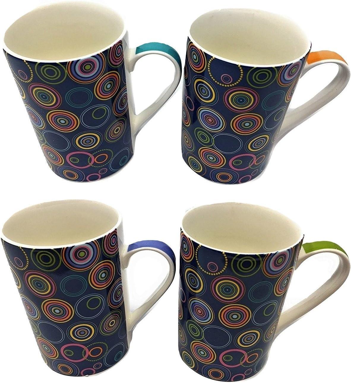Juego de 4 tazas de porcelana fina, muchos diseños, bien embaladas, alta calidad - Circle Pattern