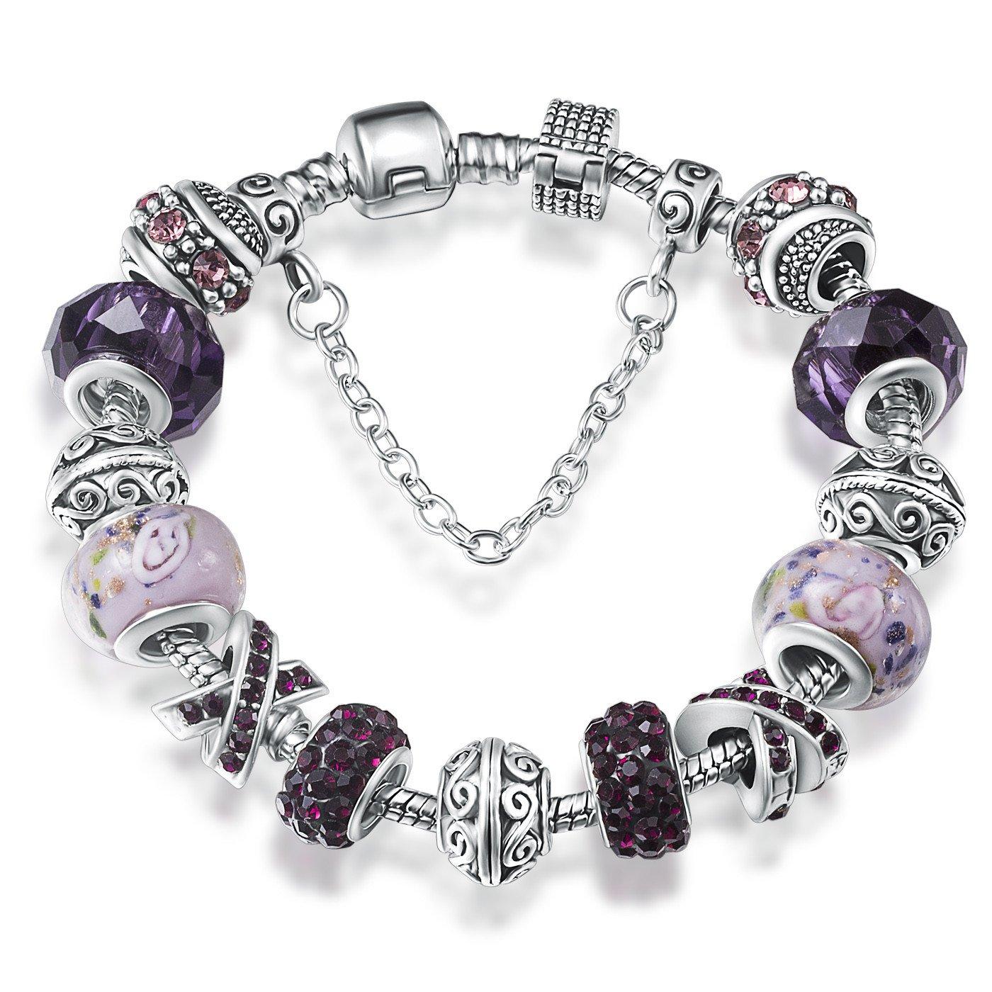 ATE Bracelet Charms Cristaux Verre Drops Fleur Femme Cadeau (Violet) JW-B139