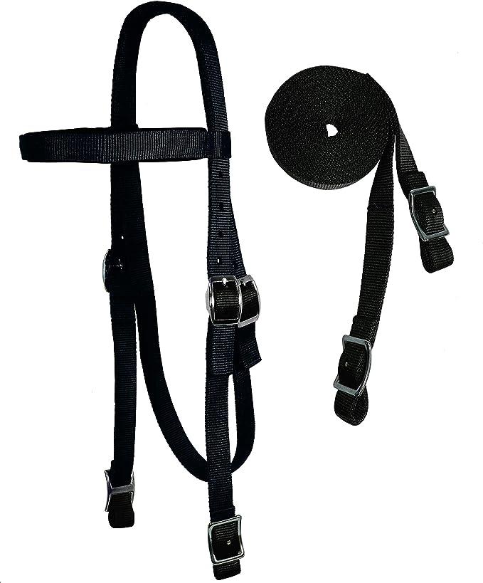 "BLACK or BROWN Nylon Western Bridle Headstall w Split Reins /& 5/"" Oring Bit Horse"