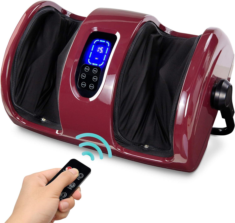 Best Choice Products Foot Massager Machine Shiatsu Leg Massager, Therapeutic Reflexology Calf Massager w/Blood Circulation, Nerve Pain, Deep Kneading, High-Intensity Rollers - Burgundy
