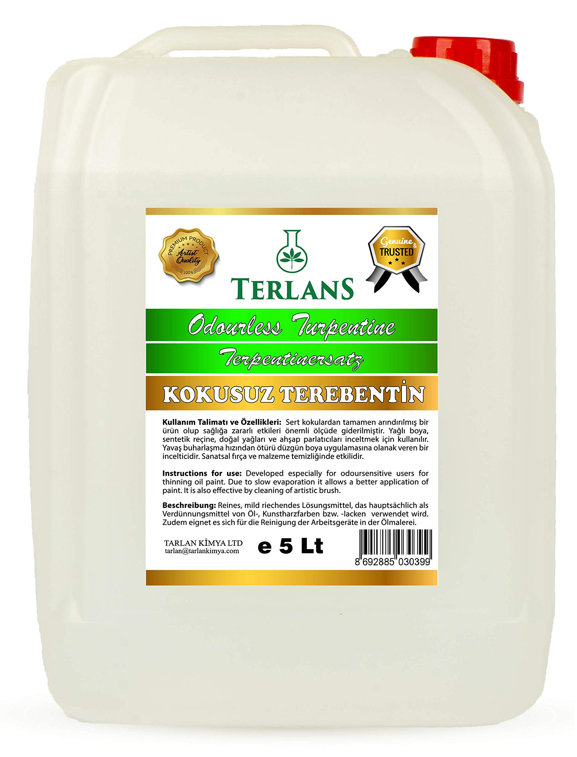 TERLANS Odorless Turpentine Substitute White Spirit Oil Paint Thinner 5 Liter by TERLANS