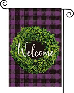 AVOIN Boxwood Wreath Welcome Garden Flag Vertical Double Sided, Mardi Gras Spring Buffalo Check Plaid Rustic Farmhouse Flag Yard Outdoor Decoration 12.5 x 18 Inch