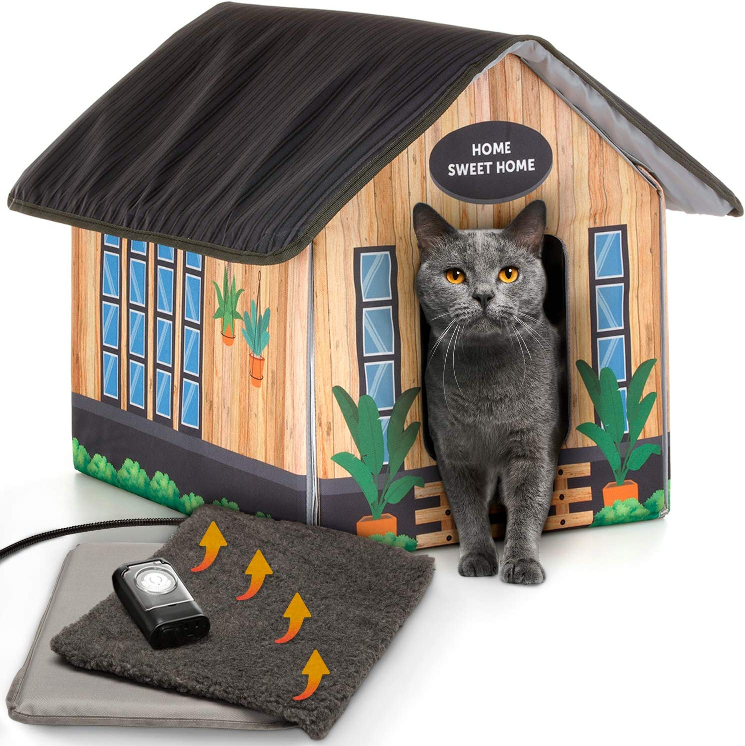 Petyella Heated Cat Houses For Outdoor Cats In Winter Heated Outdoor Cat House Weatherproof Outdoor Heated Cat House Easy To Assemble Pet Supplies